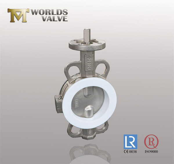 PFA lining double flange butterfly valve