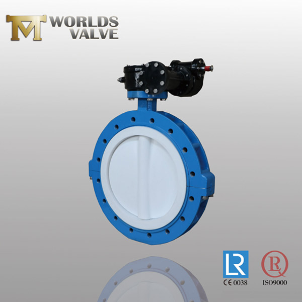 double flange PFA split body butterfly valve