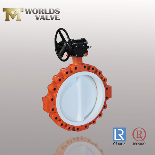 full PFA lining u flanged type butterfly valve