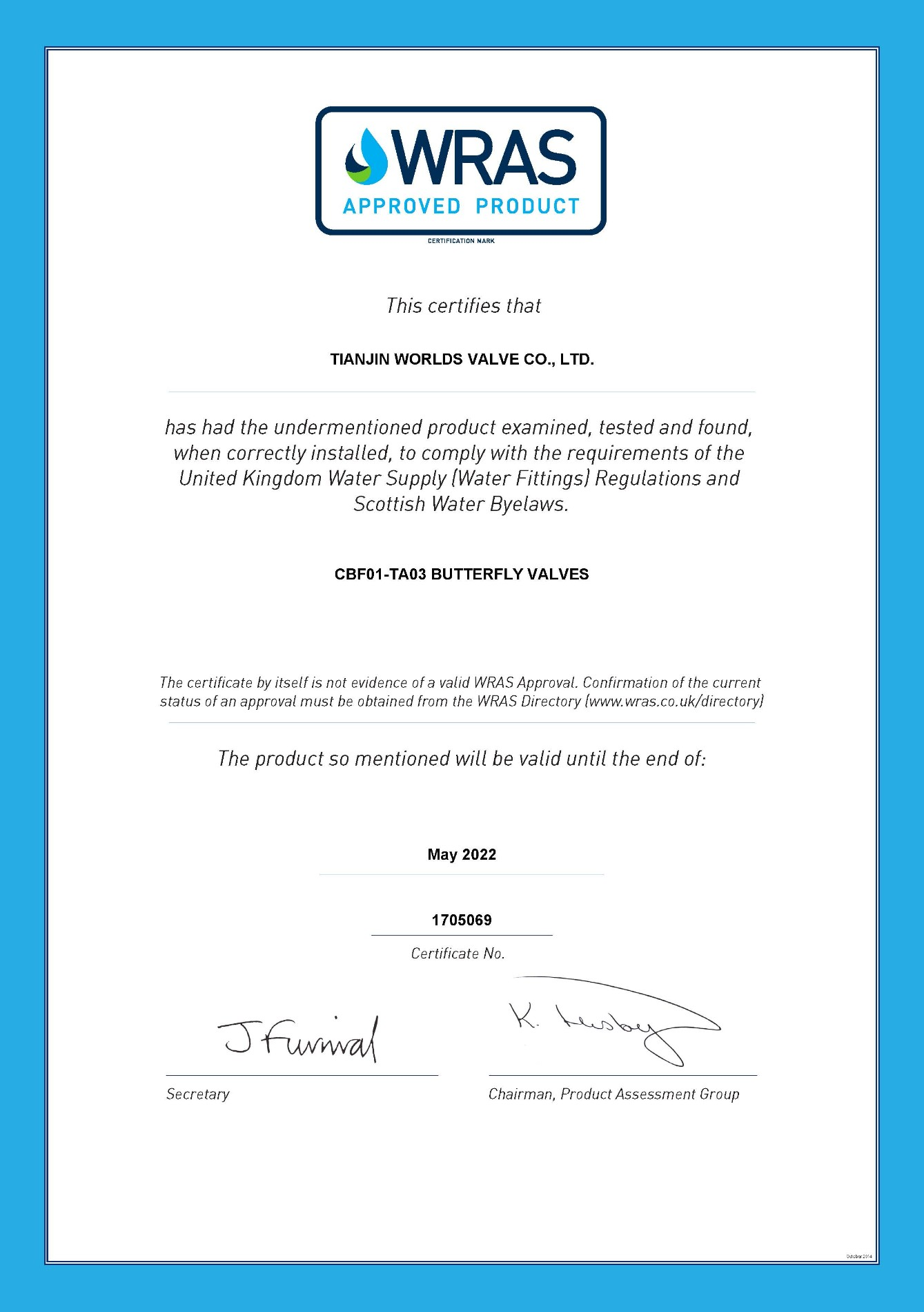 WRAS certificaat vlinderklep