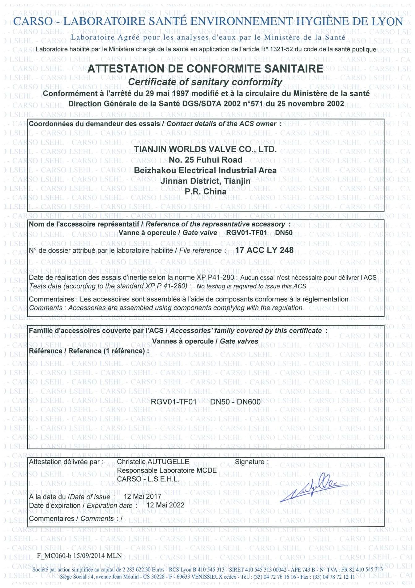 Certificado de válvula de compuerta ACS