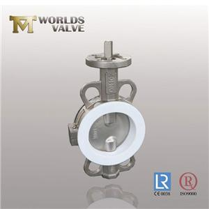 PTFE Lining Wafer Type Stainless Steel Butterfly Valve