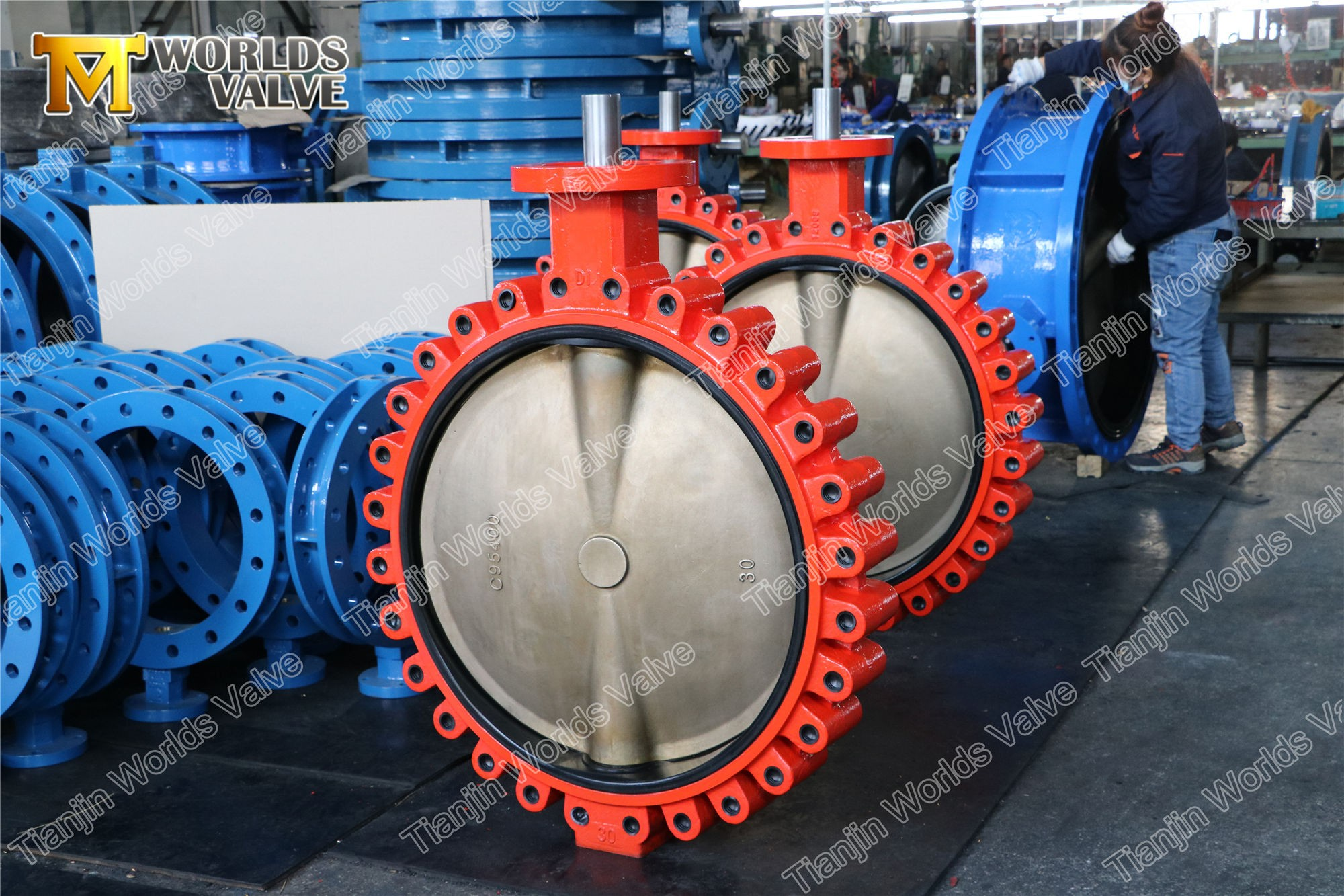 full lugged butterfly valve. lug butterfly valve,A536 65-45-12,C95400 DISC,30 inch