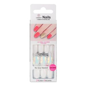 Salmon Almond Faux Nails S057