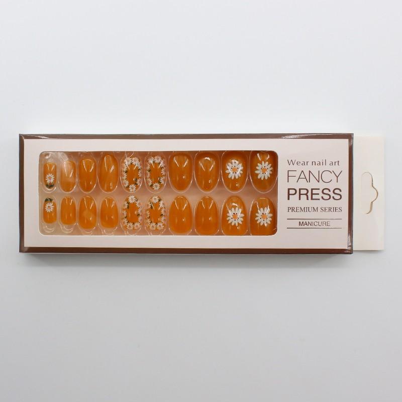 HEB-09 I disegni arancioni più popolari unghie con punte per unghie a copertura totale