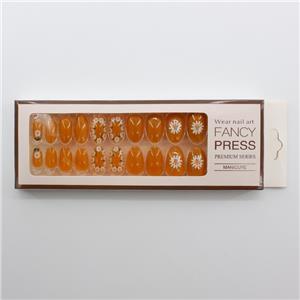 HEB-09 Meest populaire oranje ontwerpen nagels madeliefjes volledige dekking nageltips