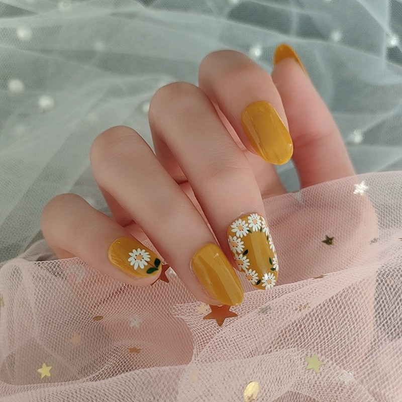 HEB-09 Most popular orange designs nails daisy full cover nail tips Manufacturers, HEB-09 Most popular orange designs nails daisy full cover nail tips Factory, Supply HEB-09 Most popular orange designs nails daisy full cover nail tips