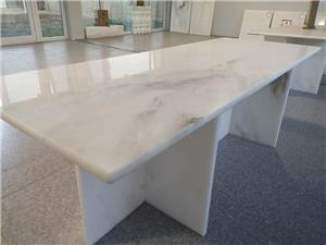 African White Marble---Table and Stool