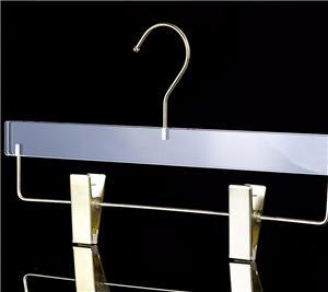 Transparentes clipes Acrílico Pant Hanger Com
