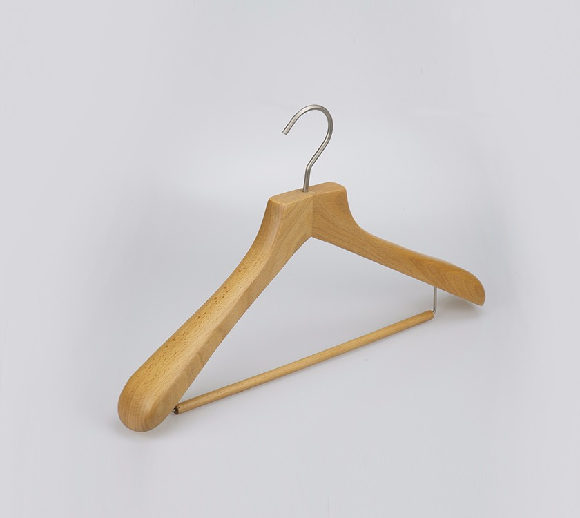 Luxury Exposure Wood Coat Suit Hanger With Locking Bar