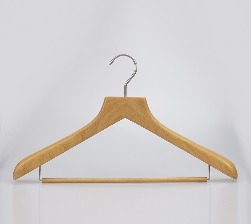 Luxury Exposure Wood Coat Suit Hanger With Locking Bar Manufacturers, Luxury Exposure Wood Coat Suit Hanger With Locking Bar Factory, Supply Luxury Exposure Wood Coat Suit Hanger With Locking Bar