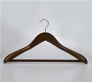 Wood Wide Shoulder Coat Hanger With Anti Slip Bar