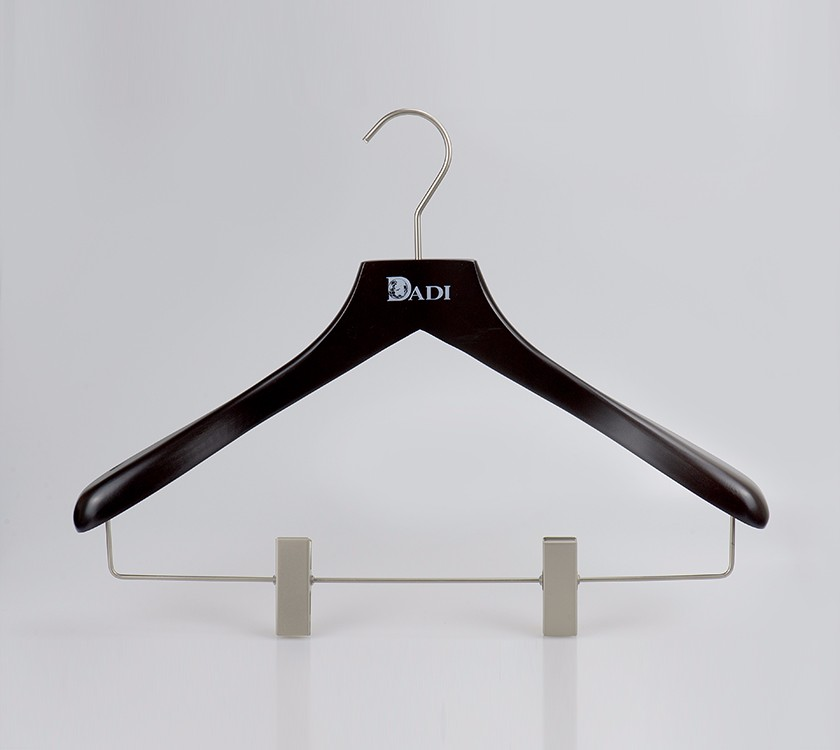 Wide Shoulder Black Coat Hangers With Clips