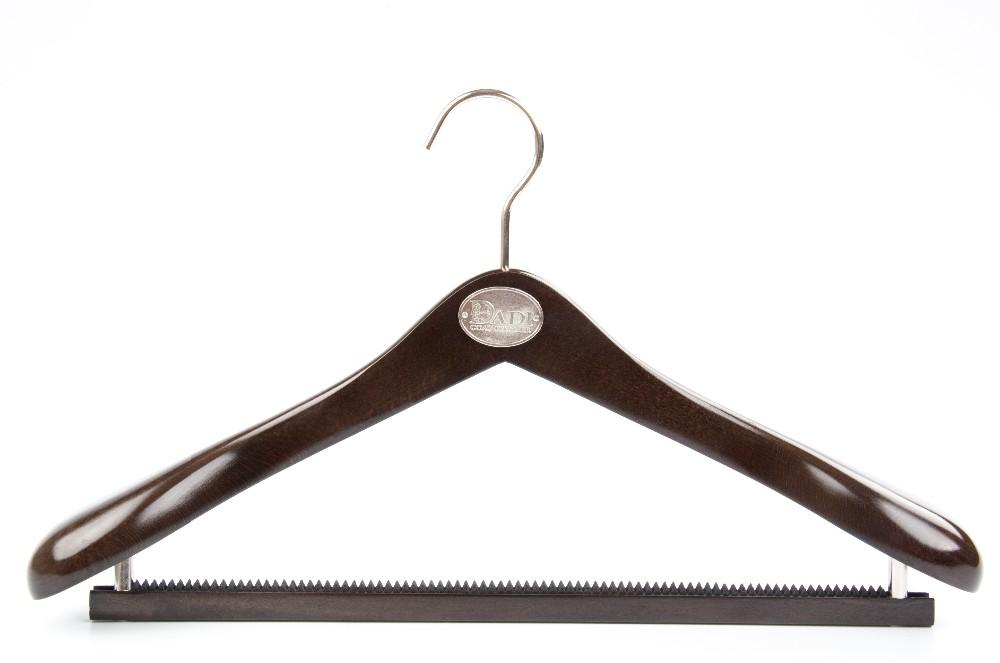 black wooden suit hanger
