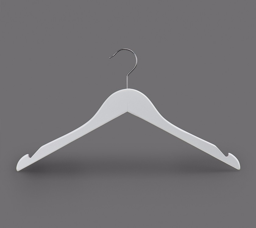 White Wooden Kids Cloth Hanger For Coat