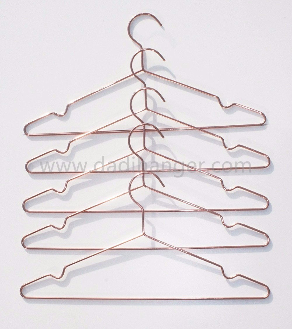 Rose Gold Metal Wire Shirt Hanger With Notch Manufacturers, Rose Gold Metal Wire Shirt Hanger With Notch Factory, Supply Rose Gold Metal Wire Shirt Hanger With Notch