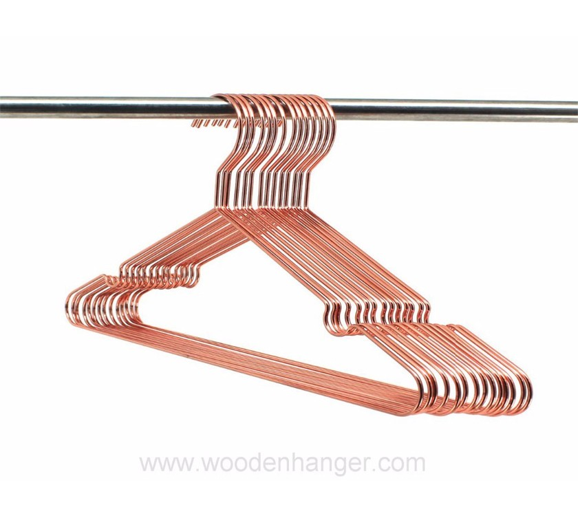 Rose Gold Metal Wire Shirt Hanger With Notch