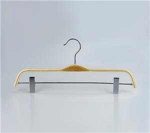 Natural Laminated Pants Hanger with clips