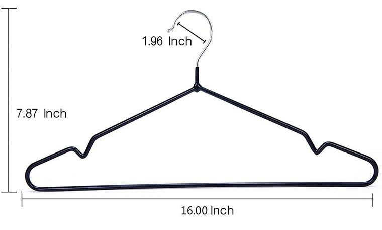 Heavy Duty Metal black shirt hanger With Anti Slip Notch