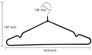 Heavy Duty Metal black shirt hanger With Anti Slip Notch