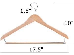 Supply Sturdy Wood Shirt Hangers with Locking Bar