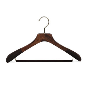 Luxury Wooden Suit Hanger With Anti Slip Flock