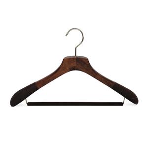 Percha de madera de lujo para traje con banda antideslizante
