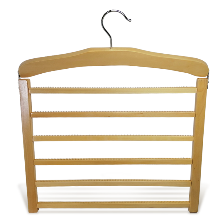 Luxury Wooden Non Slip Trousers Hanger With 5 Pcs Bar