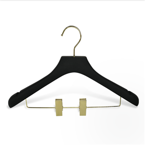Luxury Rubber Paint Wooden Suit Hanger With Gold Clips