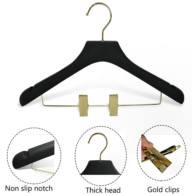 Luxury Rubber Paint Wooden Suit Hanger With Gold Clips Manufacturers, Luxury Rubber Paint Wooden Suit Hanger With Gold Clips Factory, Supply Luxury Rubber Paint Wooden Suit Hanger With Gold Clips