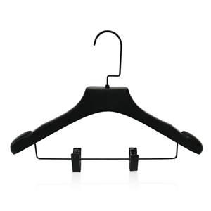Balck Wooden Coat Hanger With Strong Clip