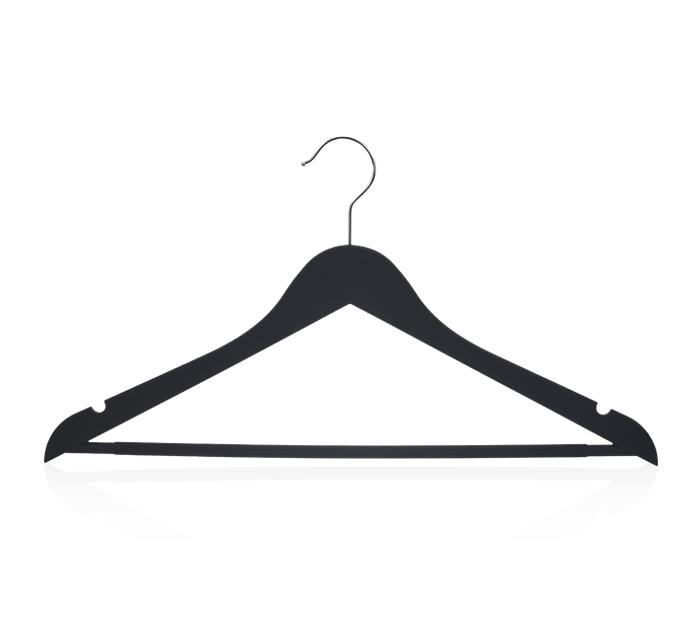 Cabides para roupas de plástico preto com barra para calças