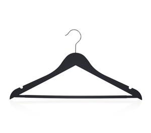 Móc treo quần áo bằng nhựa màu đen có thanh quần