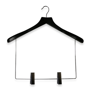 Balck Wooden Display Suit Hanger With Long Link