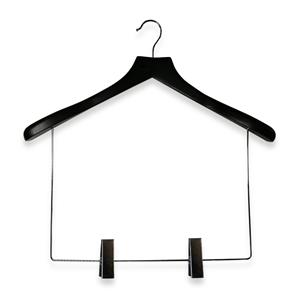Percha de madera negra para traje con enlace largo