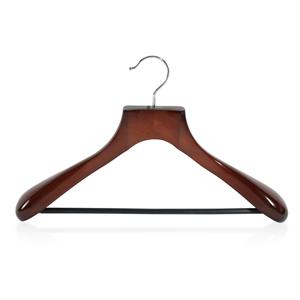 Suministro de suspensión de traje de madera de lujo de hombro ancho con barra