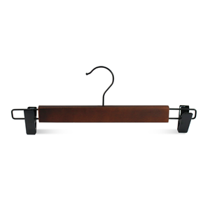 Walnut Finish Wooden Skirt Hanger With Clips