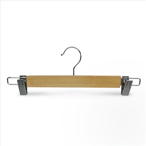 In Stock Cheap Showroom Wooden Pants Hanger With Clips