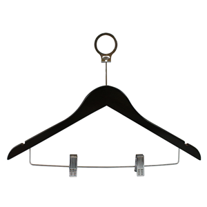 New Anti Theft Wooden Hotel Clothes Hanger With Clips