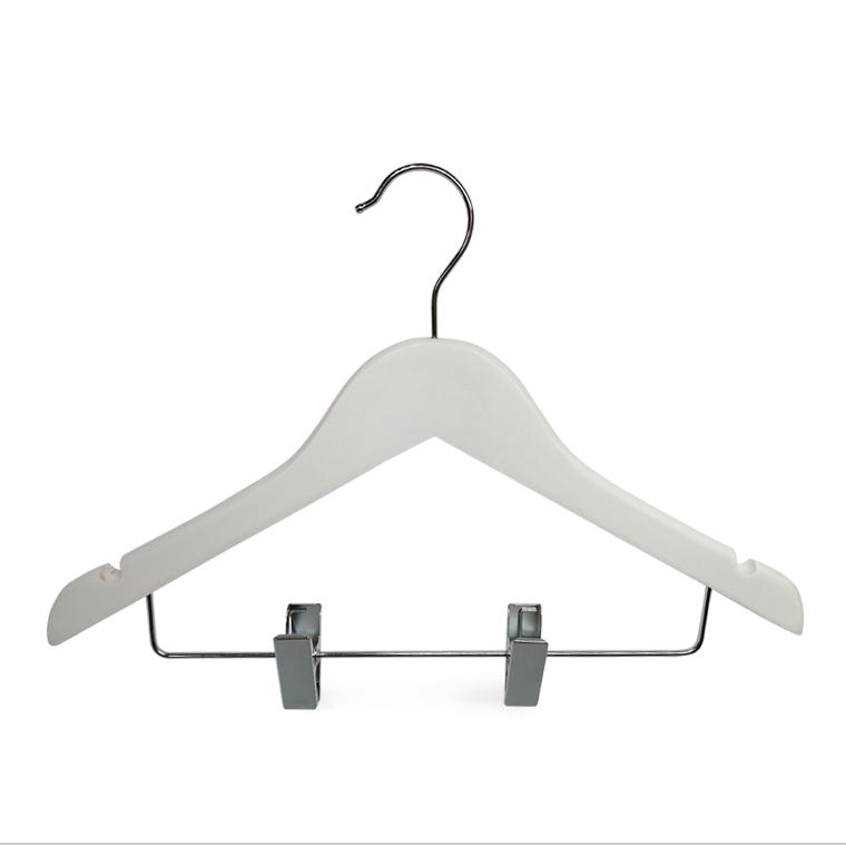 Klipsli Yeni Marka Beyaz Ahşap Çocuk Elbise Askısı