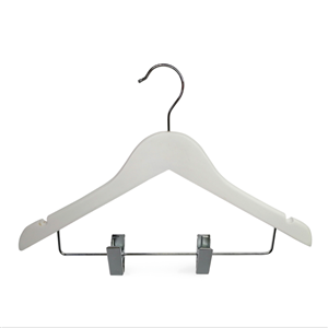 New Brand White Wooden Kids Cloth Hanger With Clips