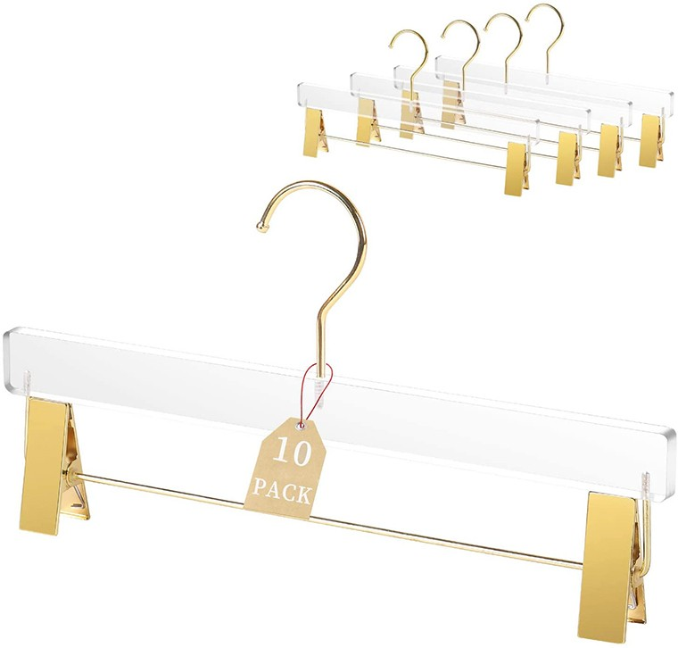 Luxury Clear Acrylic Pants Hanger With Gold Clips