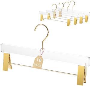 Cabide para calças de acrílico transparente de luxo com clipes de ouro