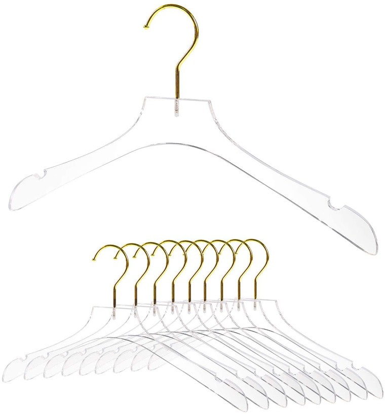 Luxury Clear Acrylic Coat Hanger With Gold Hook