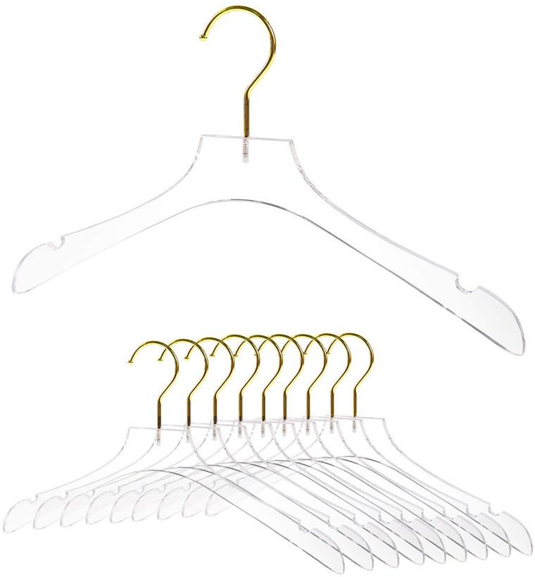 Altın Kancalı Lüks Şeffaf Akrilik Elbise Askısı