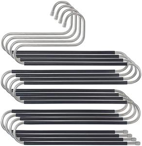 Cintres multifonctions pour pantalons en métal lourd multifonction à 5 couches en forme de S