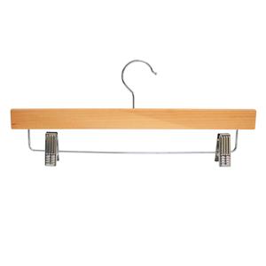 Cintre inférieur en bois de luxe en gros avec clips réglables