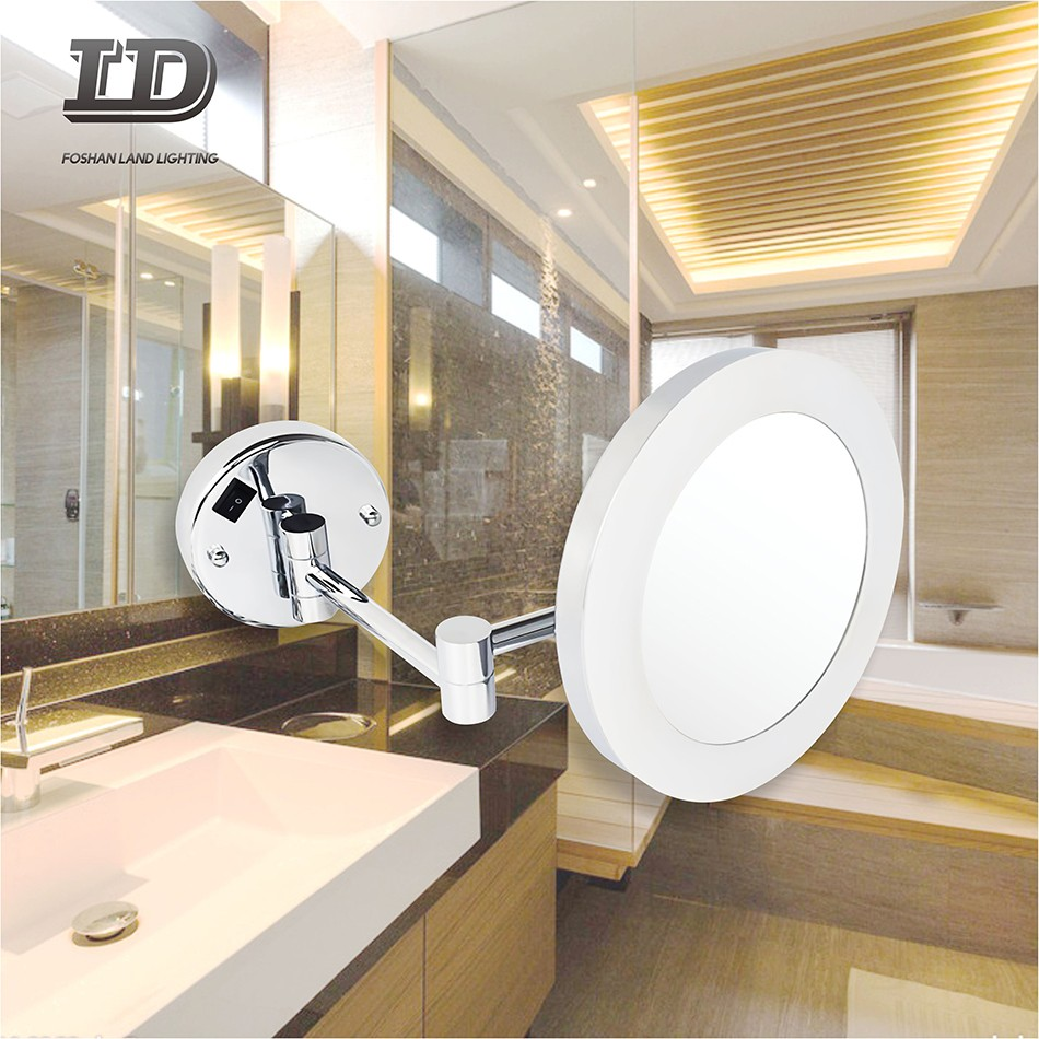 Round Foldable Light Mirror Hotel Lighted Mirror For Shaving IP44 Manufacturers, Round Foldable Light Mirror Hotel Lighted Mirror For Shaving IP44 Factory, Supply Round Foldable Light Mirror Hotel Lighted Mirror For Shaving IP44