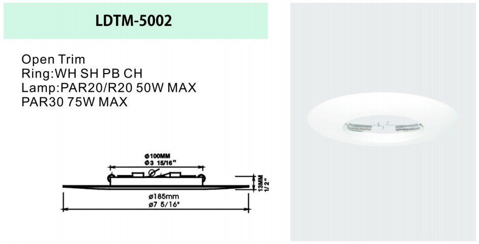5 inch white round downlight