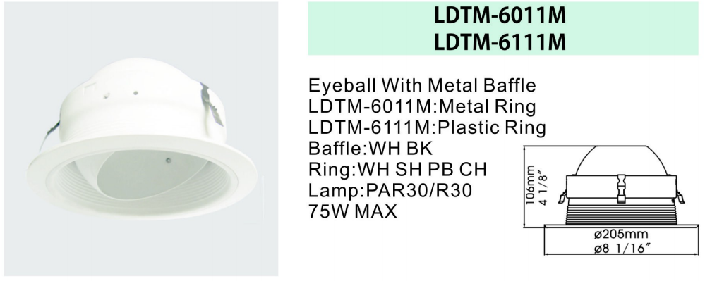 6 inch aluminum round led down light trim